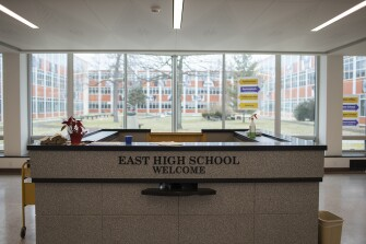 The main entrance at East High School in Rochester, New York on March 1, 2021.